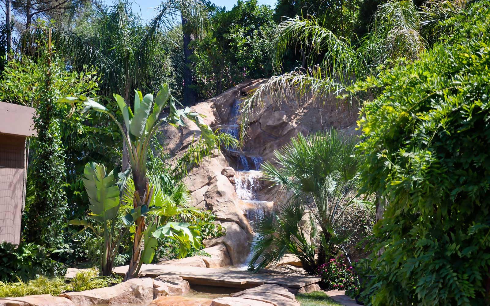 Waterfall in artificial rocks