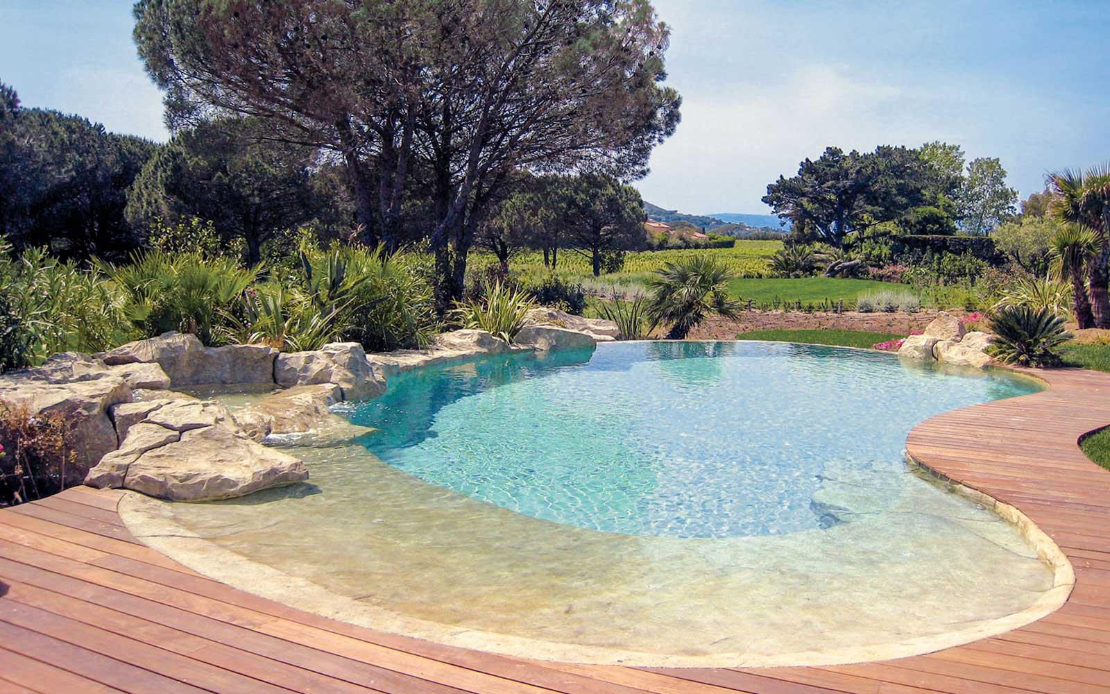 70 waterworld piscine avec plage immerg e et ponton bois for Piscine avec plage